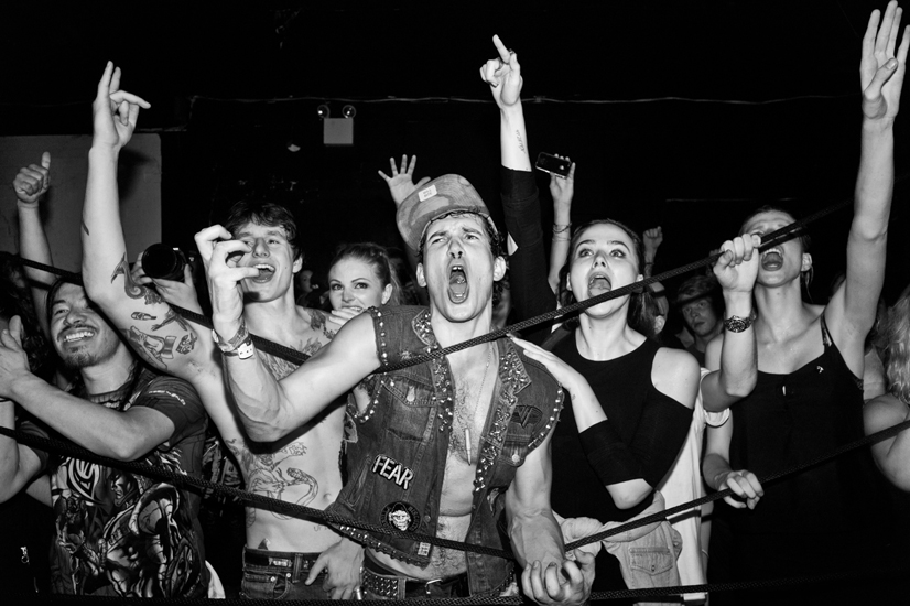 The crowd consisting of a large number of Charlie's friends celebrate as Charlie wins his match. (Old Fire House Soho, September, 2012)